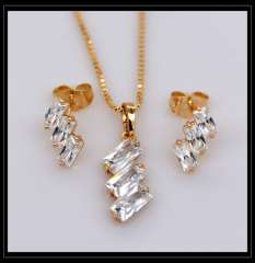 Vintage 18K Real Gold Plated Crystal Pendants Necklace Earrings jewelry Set For Women charm Fashion Jewelry gift S20120