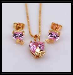 Small butterfly Crystal Pendants Necklace Earrings jewelry Set For Women 18K Real Gold Plated Fashion Jewelry gift S20119