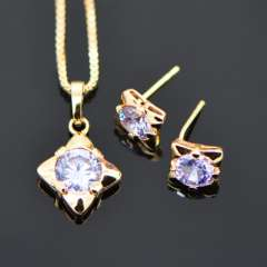 Purple Crystal Necklace Earrings Jewelry Sets Trendy 18K Real Gold Plated fashion zircon Jewelry Set Women Party Gift S20068