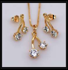 Luxury Crystal Pendants Necklaces Earrings jewelry Set For Women 18K Real Gold Plated Fashion Jewelry box gift S20115