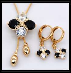 crystal jewelry Set Pendants Necklaces Earrings For Women 18K Real Gold Plated Fashion Vintage Jewelry Sets gifts S20109