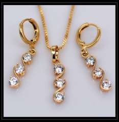 AAA+ Zircon Pendants Necklaces Earrings crystal jewelry Set For Women 18K Real Gold Plated Fashion Vintage Jewelry Sets S20112