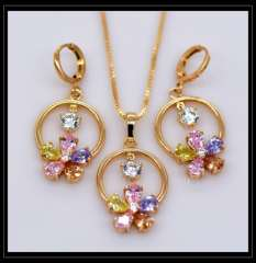Luxury Colorful Zircon Pendants Necklaces Earrings crystal jewelry Set For Women 18K Real Gold Plated Fashion Jewelry SetsS20114