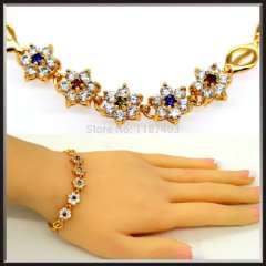 Colorful Luxury crystal Bangle vintage Jewelry High quality 18k Gold Plated cubic zirconia Bracelet women Jewelry gifts B40176