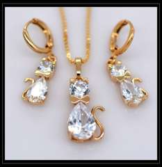 Fashion Cat Pendants Necklaces Earrings crystal jewelry Set For Women 18K Real Gold Plated Vintage Jewelry Sets gifts S20110
