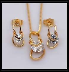Shoes Luxury Crystal Pendants Necklaces Earrings jewelry Set For Women 18K Real Gold Plated Fashion Jewelry box gift S20117