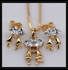 Couples dance Crystal Pendants Necklace Earrings jewelry Set For Women 18K champagne gold Plated Fashion Jewelry box gift S20123