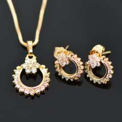 New Luxury Crystal Necklace Earrings Jewelry Sets 18K Real Gold Plated fashion Brand zircon Jewelry Set Women Party Gift S20063