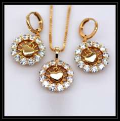Austrian crystal Pendants Necklaces Earrings Jewelry Set gifts 18K Real Gold Plated Fashion Cubic zirconia Jewelry Sets S20126