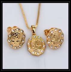 Luxury Austrian crystal Queen Pendants Necklaces Earrings Jewelry Set 18K Real Gold Plated Fashion Jewelry Sets gifts S20127