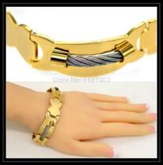 Fashion High quality Stainless steel Bracelets jewelry 18K Real Gold Plated Luxury Chain women\men Jewelry Bangle gift B40183