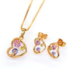 Pendants Necklaces Earrings Set For Women 18K Real Gold Plated Austrian crystal Zircon Fashion Heart Jewelry Sets S20104