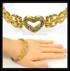 Trendy heart Bracelets Lovers'Crystal jewelry 18K Real Gold Plated Luxury Chain Link women or men Jewelry Bangle gift B40181