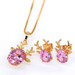 18k Gold Plated Charms Women Jewellery zircon Necklace Sika deer Earrings Pendants Luxury Wedding fashion Jewelry Sets S20101