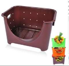 Can be superimposed semi-open kitchen fruit and vegetable storage basket / Storage basket
