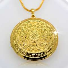 Trendy Romantic circular Pendant 18K Real Gold Plated Fashion European vintage Jewelry Women Gift Necklaces Pendants p30044