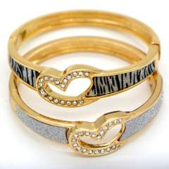 Heart-shaped Stick a sand leather design crystal Jewelry 18K Real Gold Plated Bangles For Women\ Men Gorgeous Bracelets BR70028