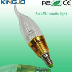Warm white 3w led candle bulb light with CE\FCC\ROHS for indoor lighting