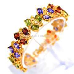 2015 Hot Sale Luxury 18k gold Plated Bracelet\bangle for Women With colorful AAA Zircon Crystal Fashion Jewelry Gifts B40147