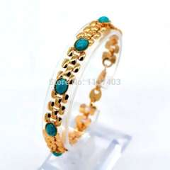 New fashion 18K Real Gold Plated Natural turquoise Chunky Link Chain bracelet\ Bangle Trendy jewelry gift for Womans b40078