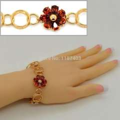 2014 new fashion 18k real gold plated Cubic zirconia Sun Flower Bracelet & bangle Wholesale women jewelry gift b40013
