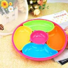 Brilliant circular colorful five grid sealed candy dish ( 2495 ) Random Color