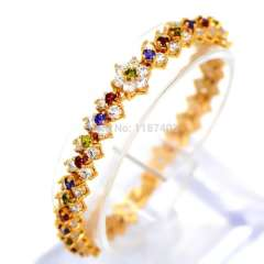 2015 Hot Sale Luxury 18k gold Plated Bracelet\bangle for Women With colorful AAA Zircon Crystal Fashion Jewelry Gifts B40146