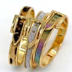 Three color Stick a sand leather design fashion Jewelry 18K Real Gold Plated Bangles For Women\ Men Gorgeous Bracelets BR70029