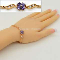 High quality Cubic zirconia Lucky flower Bracelet & Bangles new fashion 18K Gold Plated Jewelry gift For Womens b40019