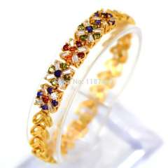 Luxury 18k Gold Plated Chain Bracelet bangle with colorful Cubic Zirconia Stone for Women Wedding Jewelry gifts B40150