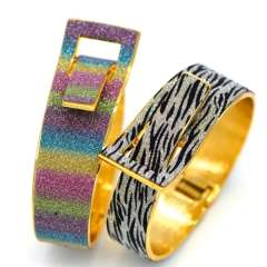 Black stripes\Colorful sand leather design Jewelry 18K Real Gold Plated Bangles For Women\ Men Gorgeous Bracelets BR70027