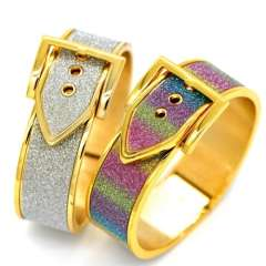 Belt buckle Colorful sand leather design classic Jewelry 18K Real Gold Plated Bangles For Women\ Men Gorgeous Bracelets BR70026