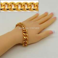 Men luxury Jewelry big size New Trendy Bracelets 18K Real Gold Plated 14.3 MM Figaro chain Lobster Bracelets Bangles b40050