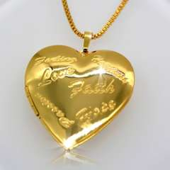 Trendy Romantic Heart Pendant 18K Real Gold Plated Fashion vintage Jewelry Women Gift Necklaces Pendants p30043