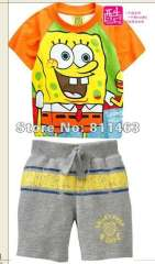 Boys short sleeve cartoon SPONGE BOB cotton pajamas #L-122\ best gift for kids\ free shipping