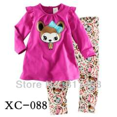 fashion girl long sleeve 100% cotton pajamas #XC-088 \ kids cute clothes \ wholesale \ free shipping