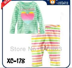 baby long sleeve striped letter I LOVE MOM pajamas #XC1-78 \ best gift for kids \wholesale & retail