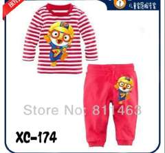 Children long sleeve red striped cartoon cotton pajamas #XC-174 \ kids clotherin set \ wholesale