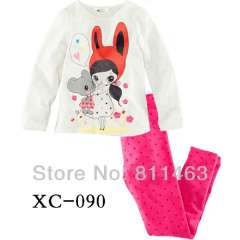 girl cute clothes #XC-090 \ baby long sleeve 100% cotton pajamas \ wholesale \ free shipping