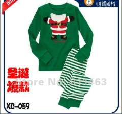 children hot selling pajamas # XC-059 \ kids green cartoon T-shirt & striped trouser \ free shipping