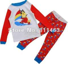 Children cartoon clothes #C-042 \ kids red garment \ baby long sleeve pajamas\ free shipping