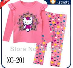 2013 girl long sleeve pink cute hello kitty 100% cotton pajamas #XC-201 \Children clothing set\wholesale & retail