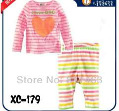 children long sleeve letter I LOVE DAD pajamas #XC-179\ pink T-shirt & stiped long pant \ wholesale & retail