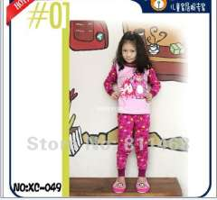 girl cartoon wear #XC-049 \ children long sleeve pink cotton pajamas \ kids sleepwear \free shipping