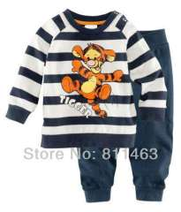 kids long sleeve striped cute cartoon tiger cotton pajamas #XC-121 \ wholesale & retail \ free shipping