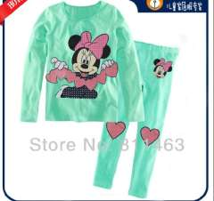 girl green cute cartoon minnie long sleeve cotton pajamas # XC-135 \ wholesale & retail \ free shipping