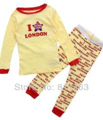 children bosy girls long sleeve letter I LOVE LONDON clothes set #C-077 \ kids pajamas \baby homewear