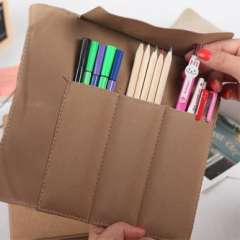 The appendtiff stationery nostalgic vintage suede leather postmarked buckle roll pencil case pen curtain storage bag