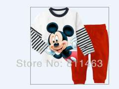 Free shipping 6pcs\lot \ boys long sleeve fashion mickey garment #CA-016 \ kids 100% cotton pajamas\ wholesale & retail