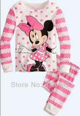 children long sleeve minnie pink clothering set \ kids pajamas #XC-189 \ Wholesale & retail